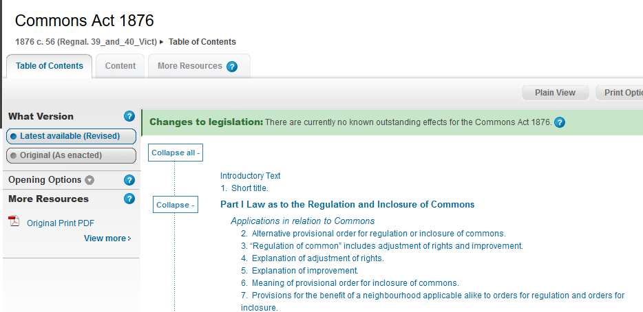 commons act 1876