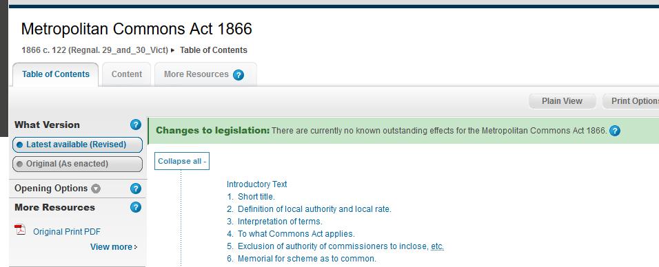 metropolitan commons act 1866