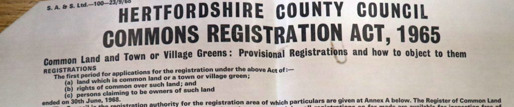 Herts county council commons registration act 1965