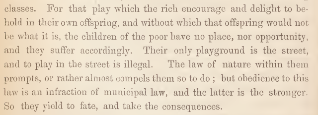 Manchester and Salford Sanitary Association, a paper by W. T. Marriott on the necessity of open spaces and public playgrounds, 15 December 1861