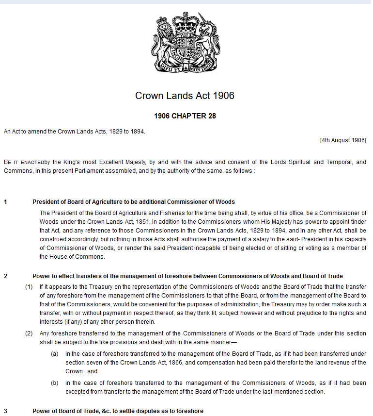 1906 crown lands act