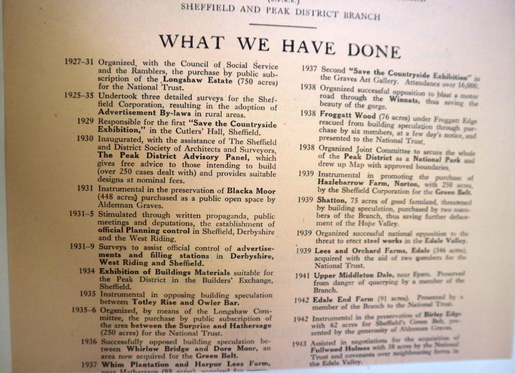 sheffield cpre what we have done 1945