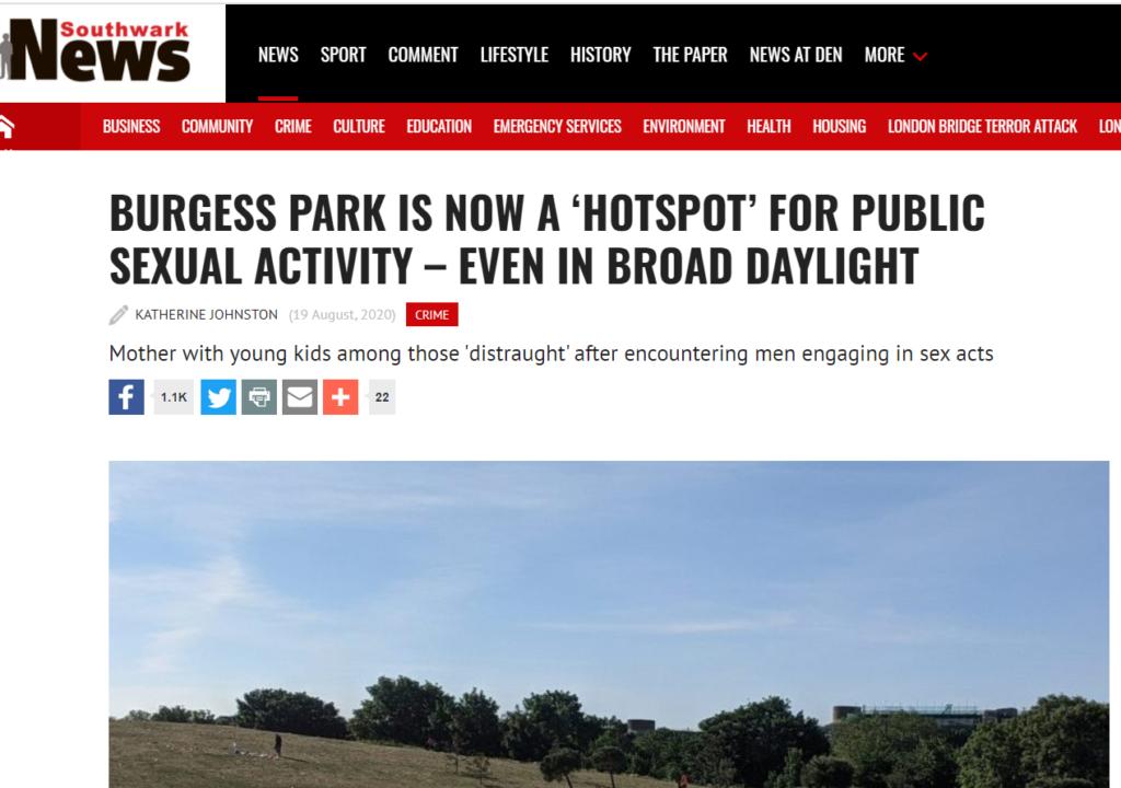 burgess park sex acts