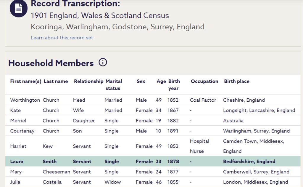 1901 census kooringa