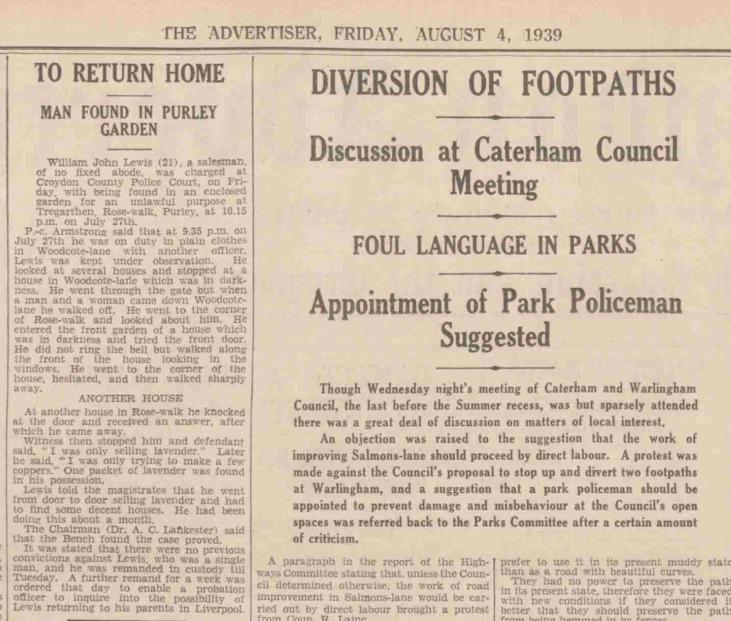 Croydon Advertiser, 4 August 1939