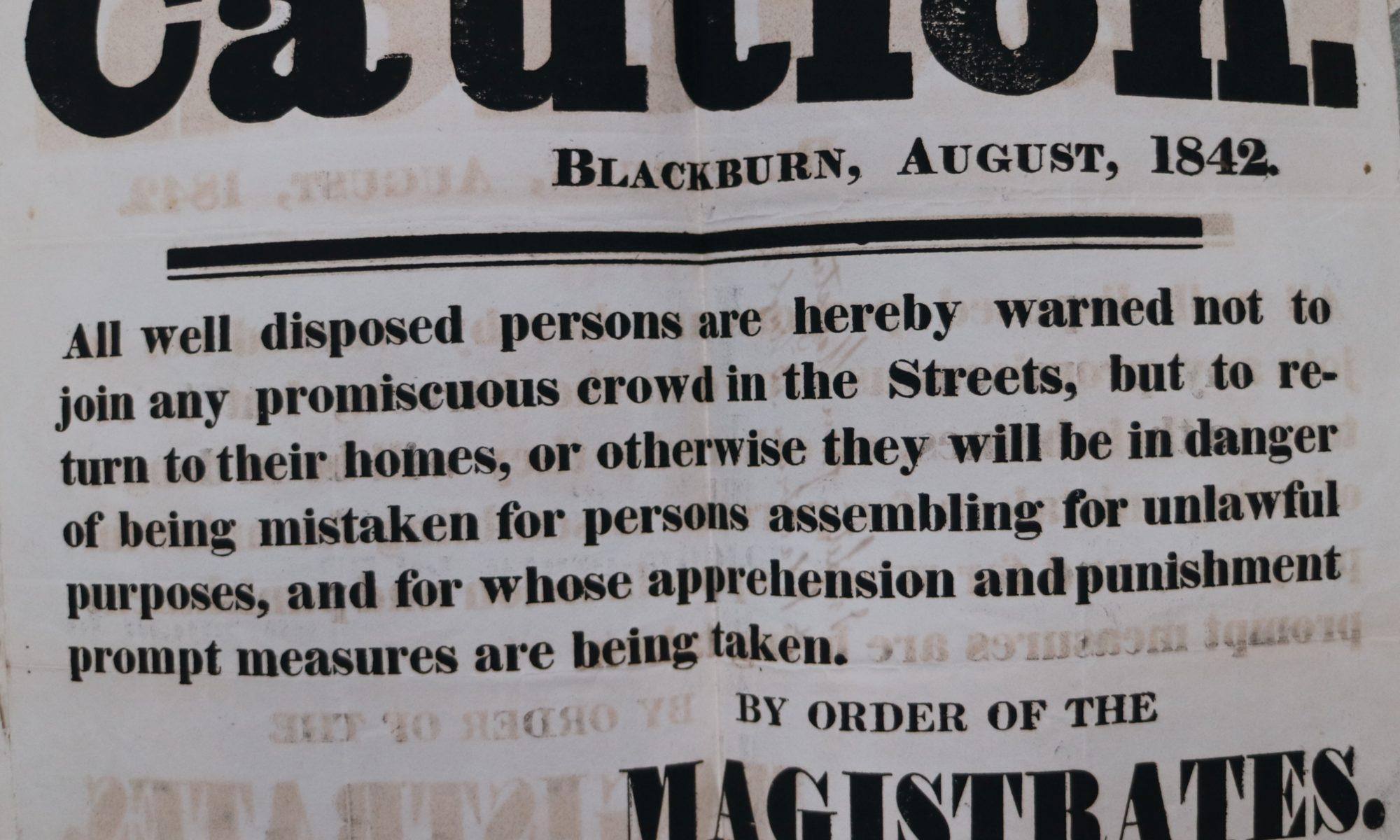 magistrates of blackburn ban on meetings 1842