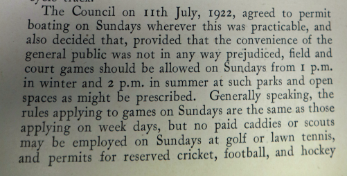 council restrictions on games 1922