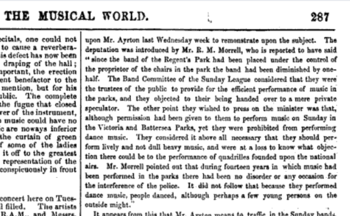 musical world 1870 Sunday League on music in parks