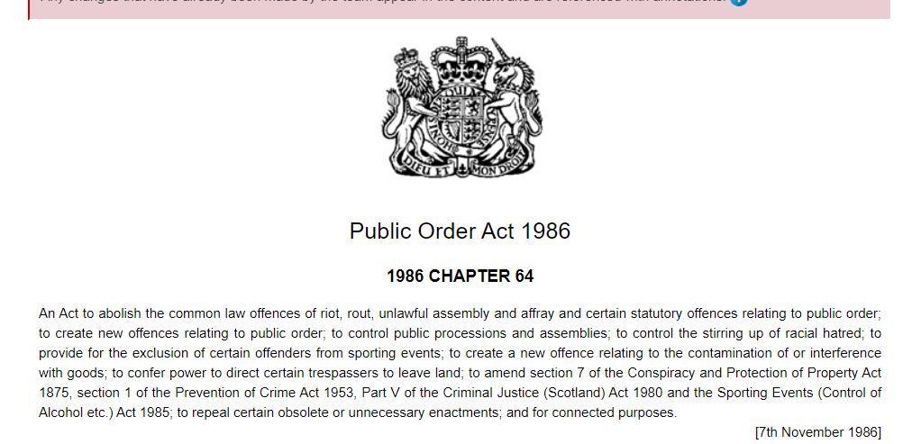 public order act 1986