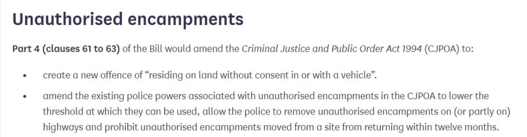 unauthorised encampments